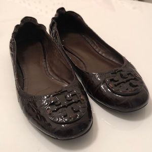 Brown Croc Tory Burch Flats Sz 8.5